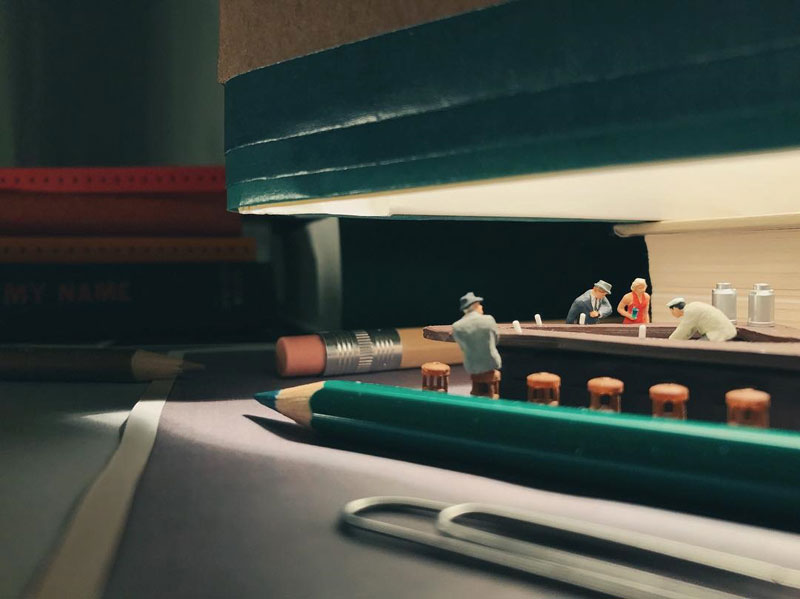 miniature scenes by derrick lin mardser on instagram 7 Guy Creates Tiny Moments on His Desk Using Office Supplies and Huge Collection of Miniatures