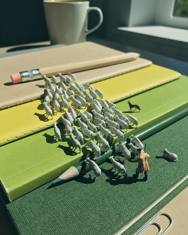 miniature scenes by derrick lin mardser on instagram 8 Guy Creates Tiny Moments on His Desk Using Office Supplies and Huge Collection of Miniatures