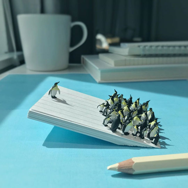 miniature scenes by derrick lin mardser on instagram 9 Guy Creates Tiny Moments on His Desk Using Office Supplies and Huge Collection of Miniatures
