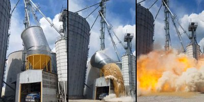 Raw Footage of Grain Tank Collapsing and Exploding in Indiana