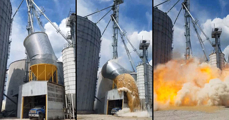 Raw Footage of Grain Tank Collapsing and Exploding inIndiana