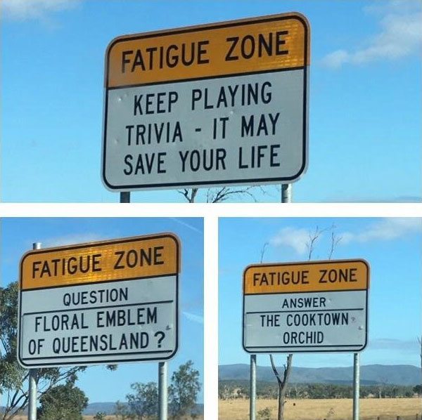 trivia road signs australia 2 There are Roads in Australia that are So Boring they Have Trivia Signs to Keep Drivers Alert
