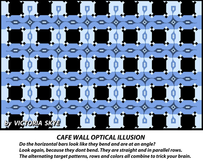 victoria skye cafe wall optical illusion 1 Your Eyes are Playing Tricks on You, All of the Horizontal Blue Lines are Straight