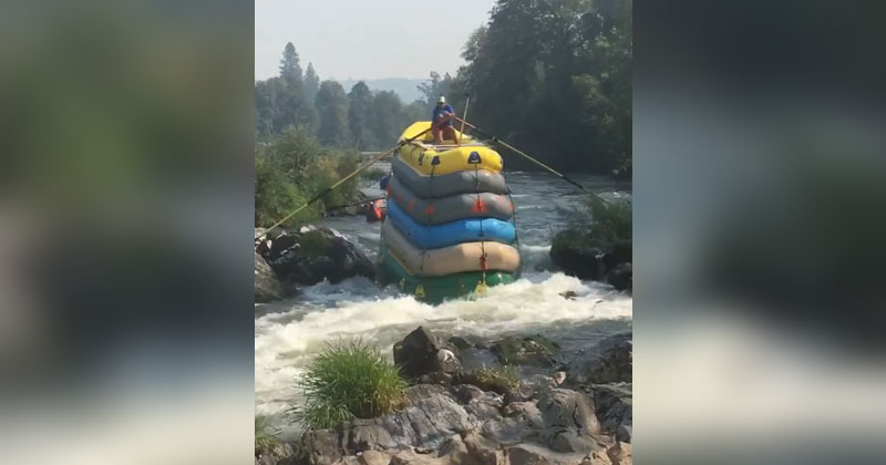 What You've Never Seen a Guy Go Down a River in 6 Rafts Before?