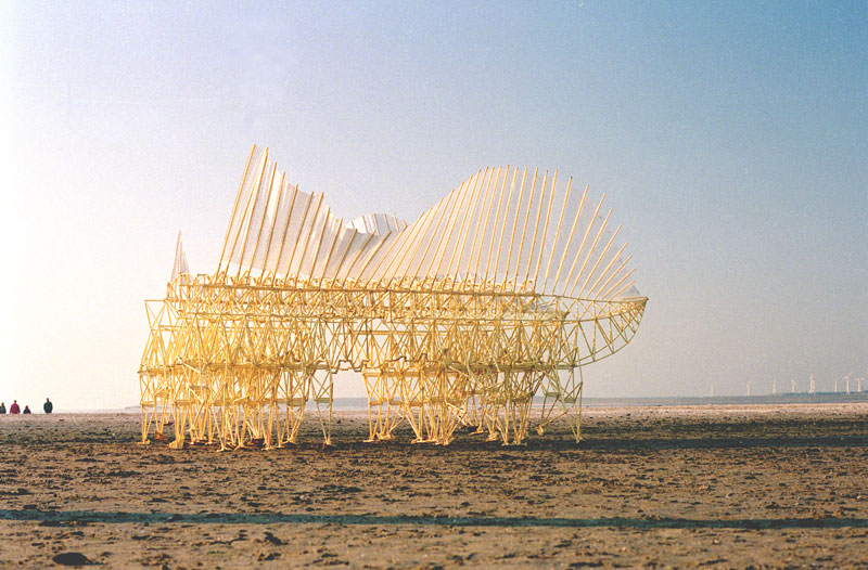 kinetic beach walkers powered by the wind by theo jansen 2 Strandbeests: The Kinetic Beach Walkers Powered by the Wind
