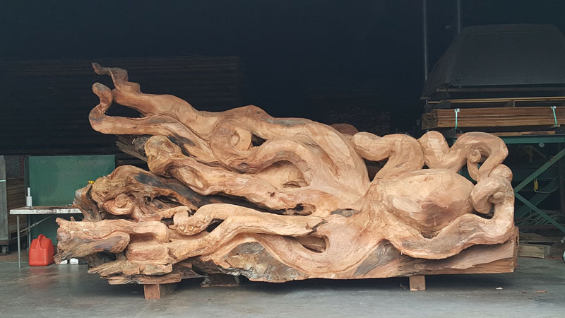 octopus carved from fallen redwood by jeffrey michael samudosky 17 Artist Transforms Fallen Redwood Into Giant Octopus (15 Photos)