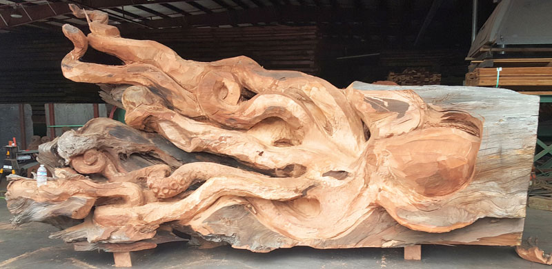 octopus carved from fallen redwood by jeffrey michael samudosky 5 Artist Transforms Fallen Redwood Into Giant Octopus (15 Photos)