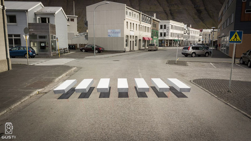 3d crosswalk iceland 5 Cities Around the Globe are Testing 3D Crosswalks to Slow Down Drivers