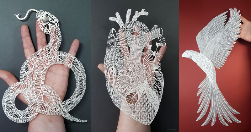 Amazing Hand Cut Paper Animals by Pippa Dyrlaga