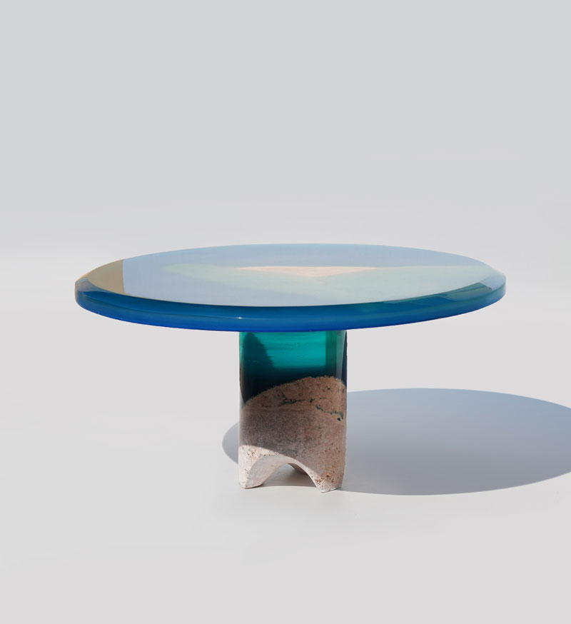 azzurro 3 1 Artist Channels the Ocean Into One of a Kind Tables Using Marble and Acrylic