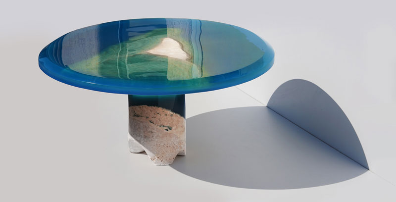 azzurro table 2 1 Artist Channels the Ocean Into One of a Kind Tables Using Marble and Acrylic