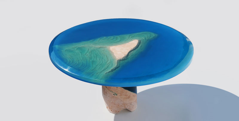azzurro table 3 1 Artist Channels the Ocean Into One of a Kind Tables Using Marble and Acrylic