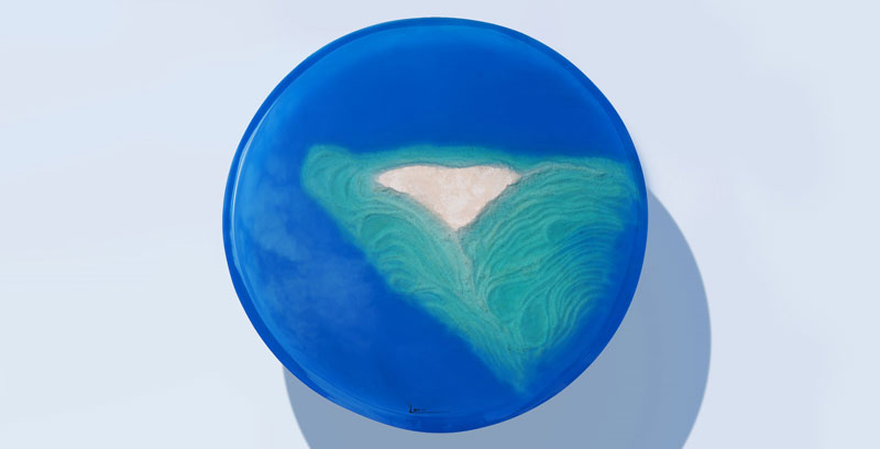azzurro table 5 1 Artist Channels the Ocean Into One of a Kind Tables Using Marble and Acrylic
