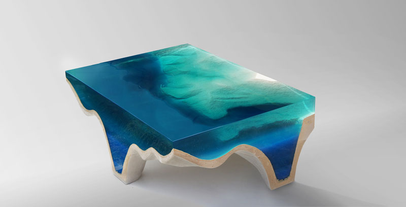 crete table 2 2 Artist Channels the Ocean Into One of a Kind Tables Using Marble and Acrylic