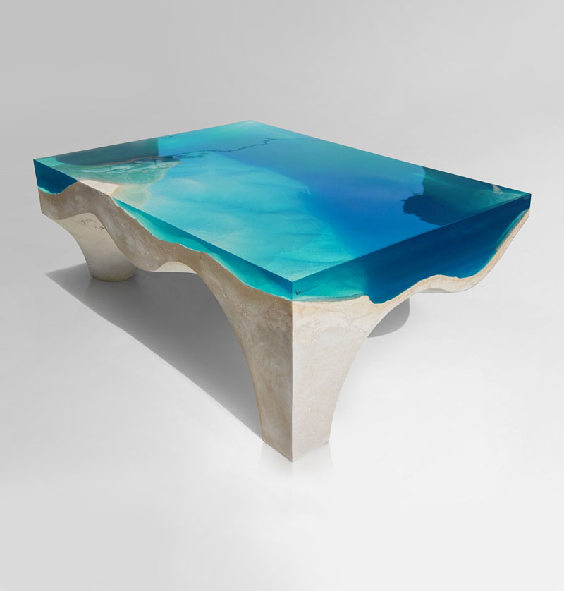 crete table 3 1 Artist Channels the Ocean Into One of a Kind Tables Using Marble and Acrylic