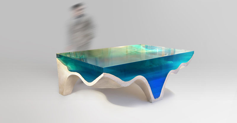 crete table 3 Artist Channels the Ocean Into One of a Kind Tables Using Marble and Acrylic