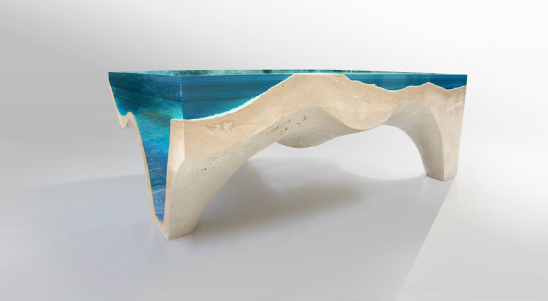 crete table 4 1 Artist Channels the Ocean Into One of a Kind Tables Using Marble and Acrylic