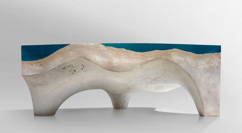 crete table 5 2 Artist Channels the Ocean Into One of a Kind Tables Using Marble and Acrylic