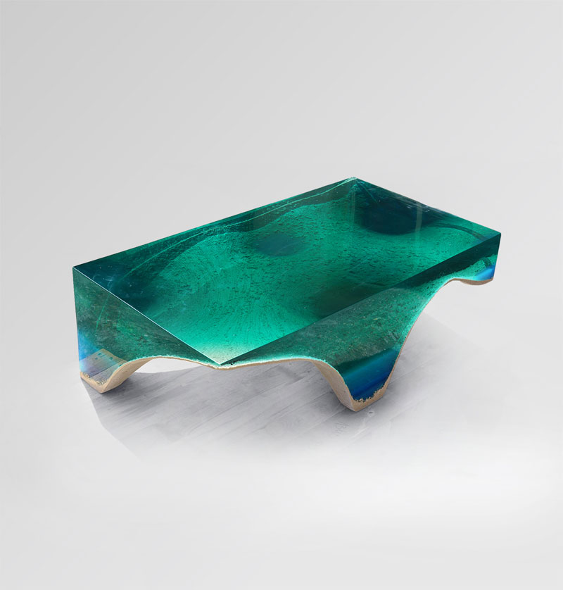 delmare custom 1 Artist Channels the Ocean Into One of a Kind Tables Using Marble and Acrylic