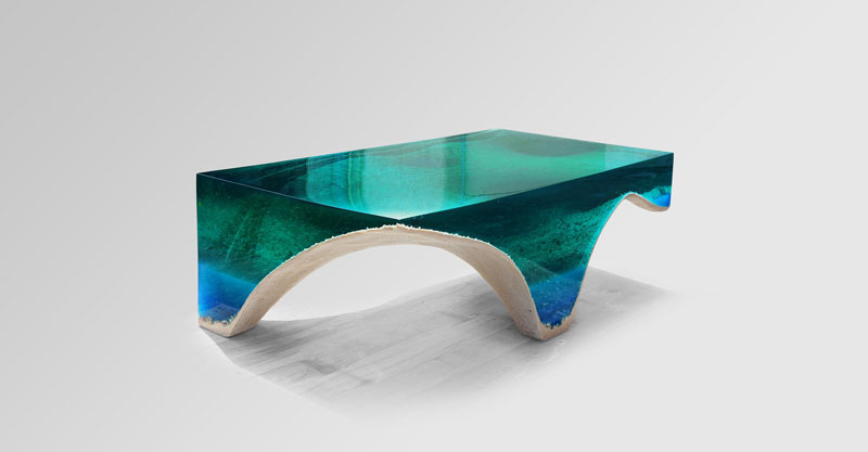 delmare custom 2 1 Artist Channels the Ocean Into One of a Kind Tables Using Marble and Acrylic