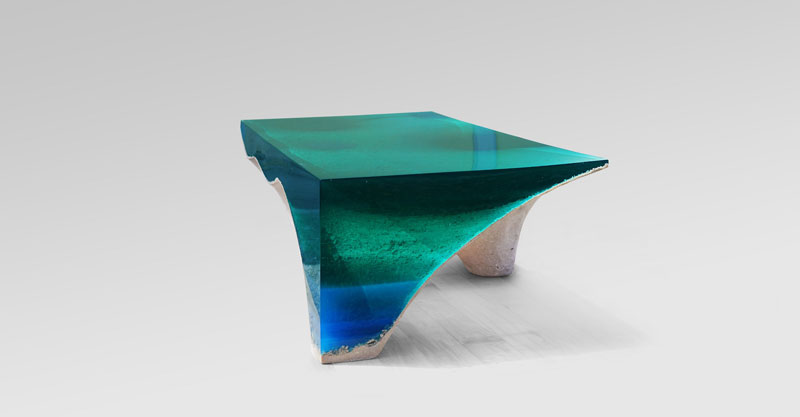 delmare custom 3 1 Artist Channels the Ocean Into One of a Kind Tables Using Marble and Acrylic