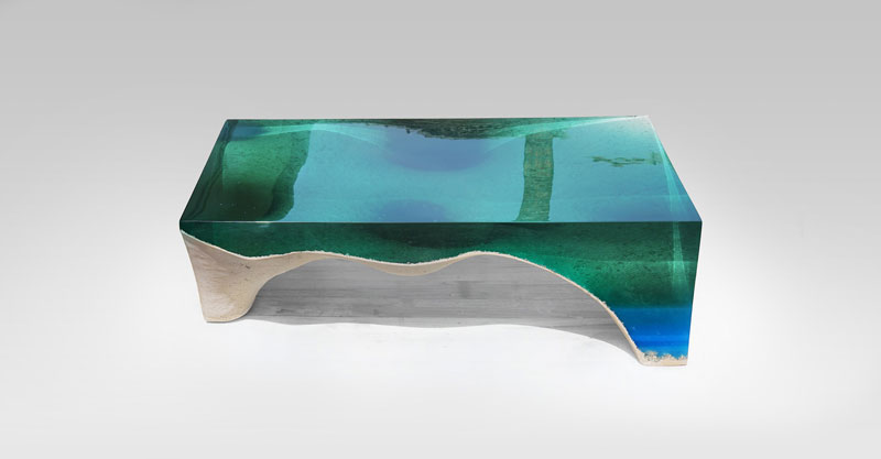 delmare custom 5 1 Artist Channels the Ocean Into One of a Kind Tables Using Marble and Acrylic