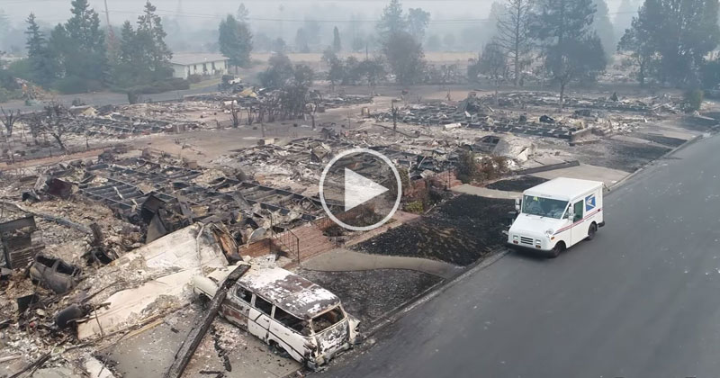 Surreal Video of Postman Delivering Mail to Neighborhood Destroyed by Wildfire Goes Viral