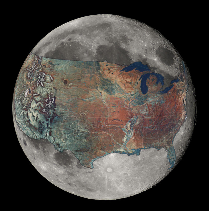 north america on the moon 5 Interesting Maps That Use the United States as a Reference Point