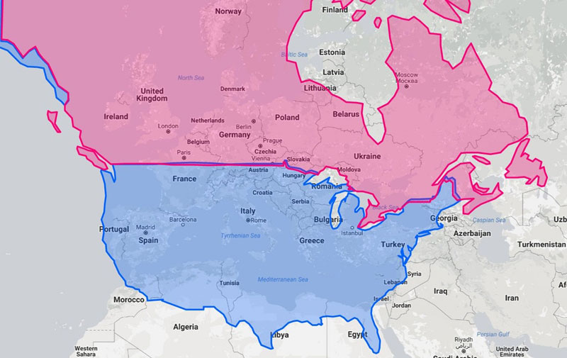north america over europe 5 Interesting Maps That Use the United States as a Reference Point