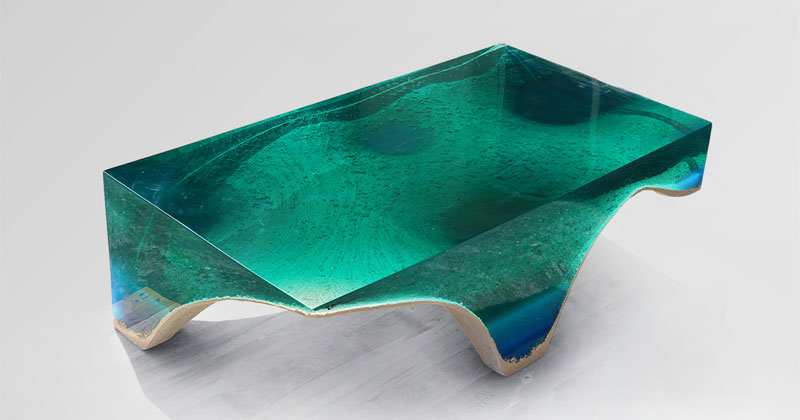 Artist Channels the Ocean Into One-of-a-Kind Tables Using Marble andAcrylic