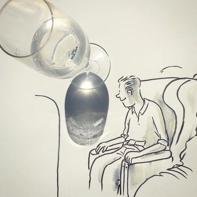 shadow art doodles vincent bal 12 Artist Casts Shadows and Doodles on the Results (21 Photos)