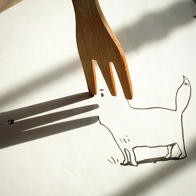 shadow art doodles vincent bal 13 Artist Casts Shadows and Doodles on the Results (21 Photos)