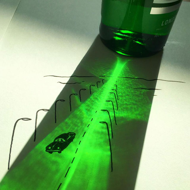 shadow art doodles vincent bal 16 Artist Casts Shadows and Doodles on the Results (21 Photos)