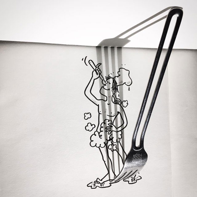 shadow art doodles vincent bal 2 Artist Casts Shadows and Doodles on the Results (21 Photos)