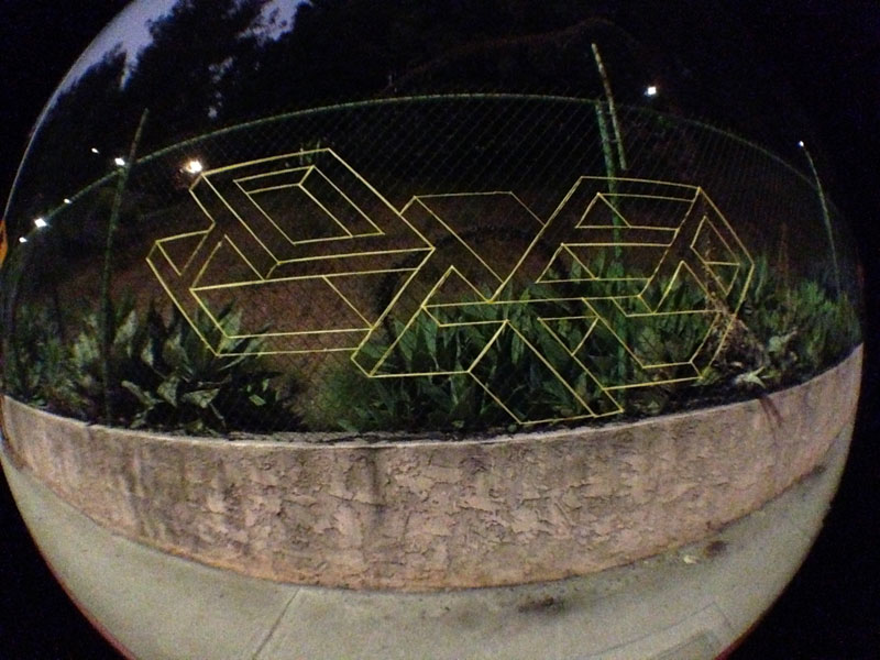street artist hot tea yarn fence 3d letters 8 This Artist Uses Yarn to Create Amazing 3D Letters on Chain Link Fences