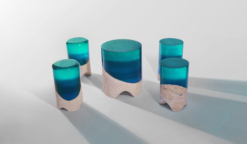 table of silenc 1 Artist Channels the Ocean Into One of a Kind Tables Using Marble and Acrylic