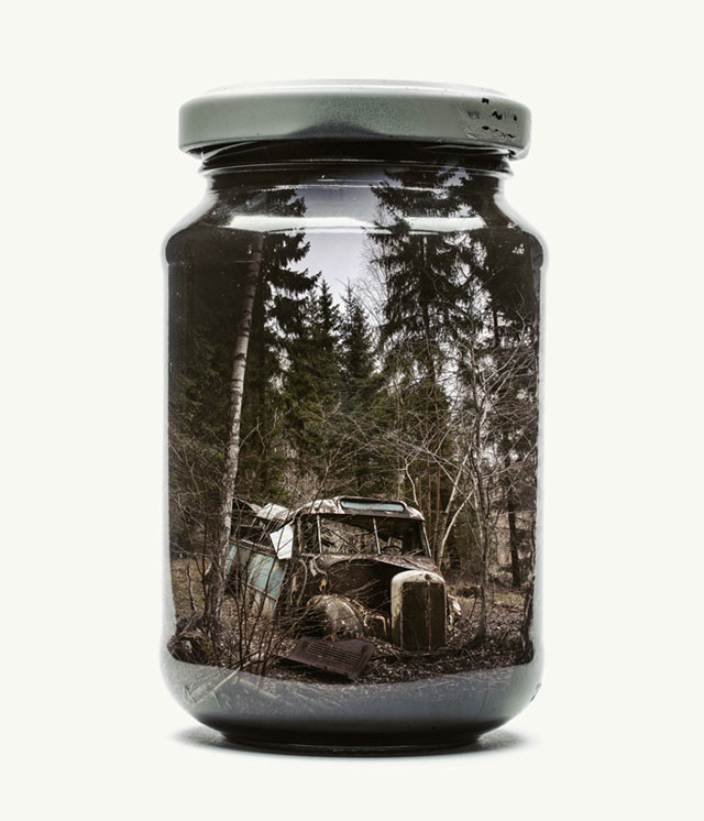 jarred and displaced by christoffer relander 2 Bottled Memories of Childhood Landscapes Using Double Exposure Photography