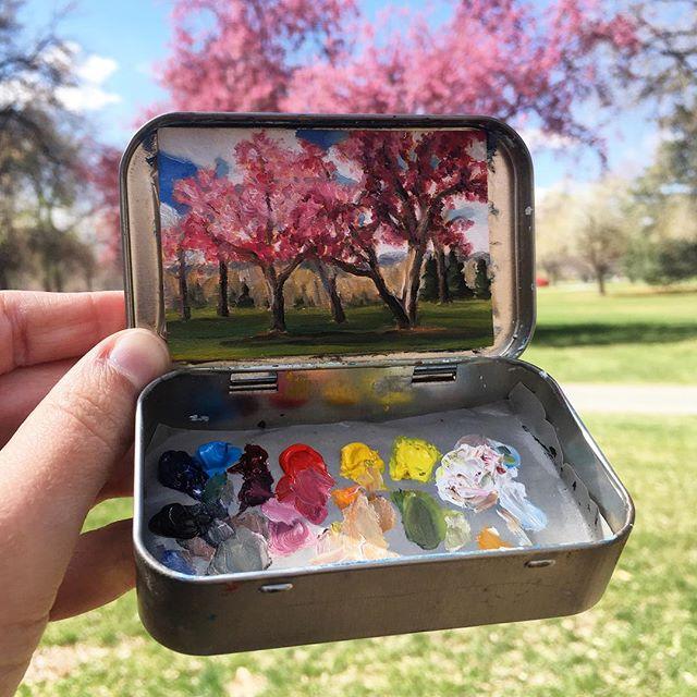 miniature landscapes painted inside mint tins by heidi annalise 1 15 Miniature Landscapes Painted Inside Mint Tins