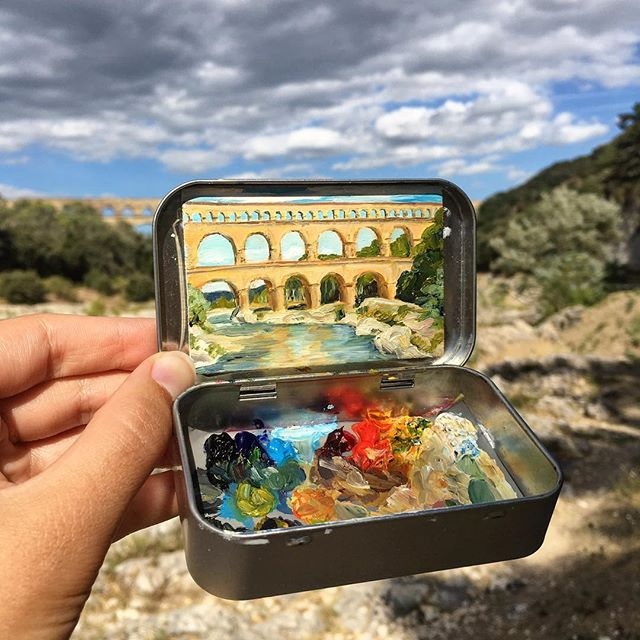 miniature landscapes painted inside mint tins by heidi annalise 11 15 Miniature Landscapes Painted Inside Mint Tins