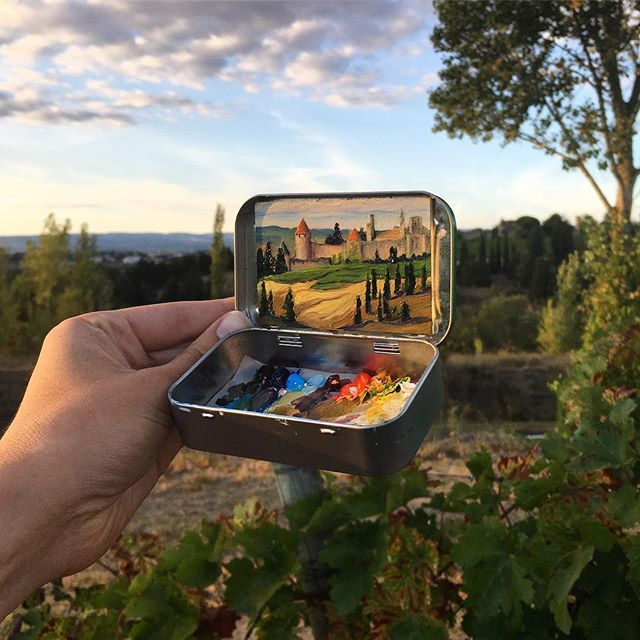 miniature landscapes painted inside mint tins by heidi annalise 12 15 Miniature Landscapes Painted Inside Mint Tins