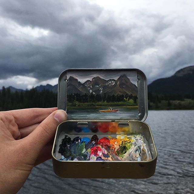 miniature landscapes painted inside mint tins by heidi annalise 2 15 Miniature Landscapes Painted Inside Mint Tins