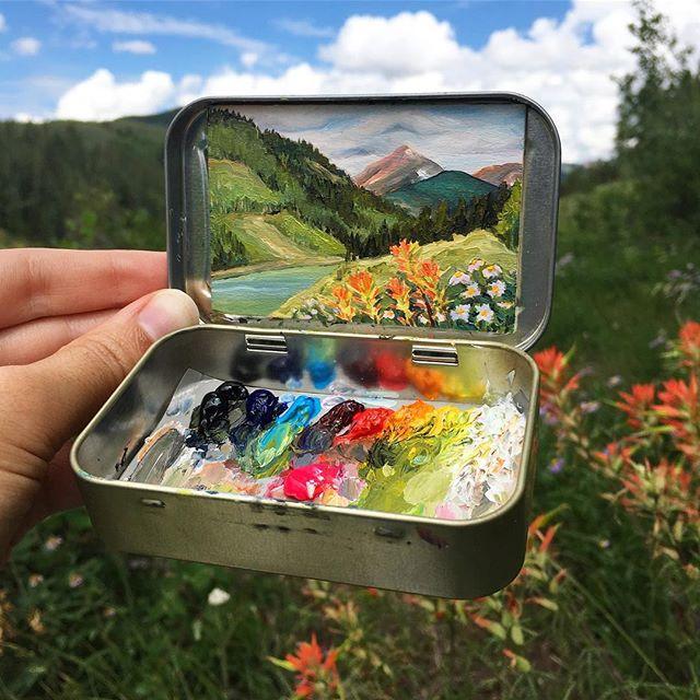 miniature landscapes painted inside mint tins by heidi annalise 6 15 Miniature Landscapes Painted Inside Mint Tins