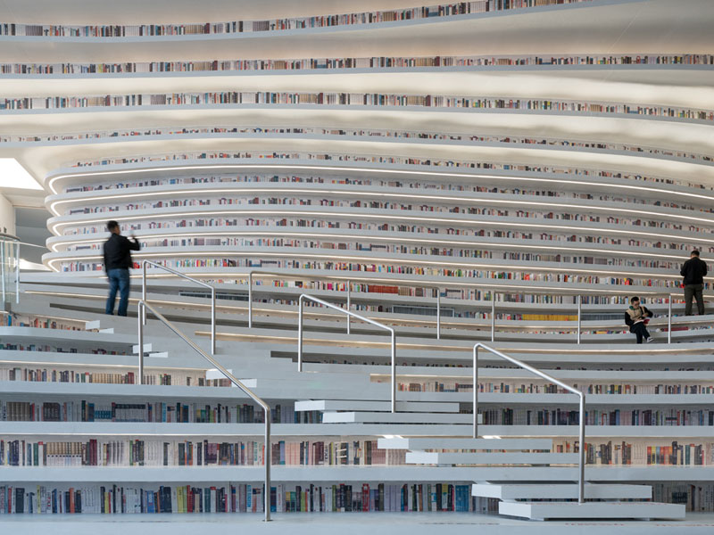 tianjin binhai public library china by mvrdv 1 Incredible Ocean of Books Library Opens in China with Space for 1.2m Titles
