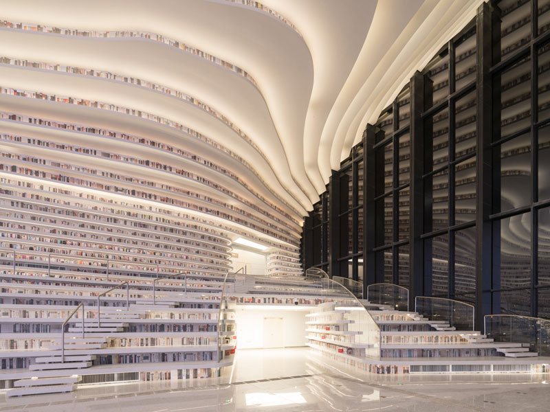 tianjin binhai public library china by mvrdv 11 Incredible Ocean of Books Library Opens in China with Space for 1.2m Titles