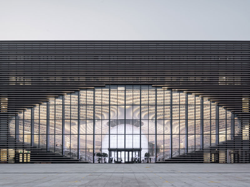tianjin binhai public library china by mvrdv 12 Incredible Ocean of Books Library Opens in China with Space for 1.2m Titles