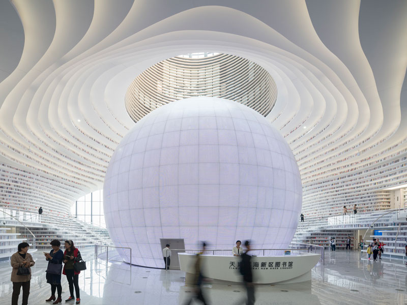 tianjin binhai public library china by mvrdv 5 Incredible Ocean of Books Library Opens in China with Space for 1.2m Titles