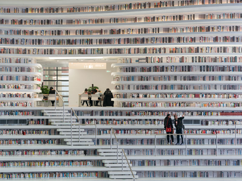 tianjin binhai public library china by mvrdv 6 Incredible Ocean of Books Library Opens in China with Space for 1.2m Titles