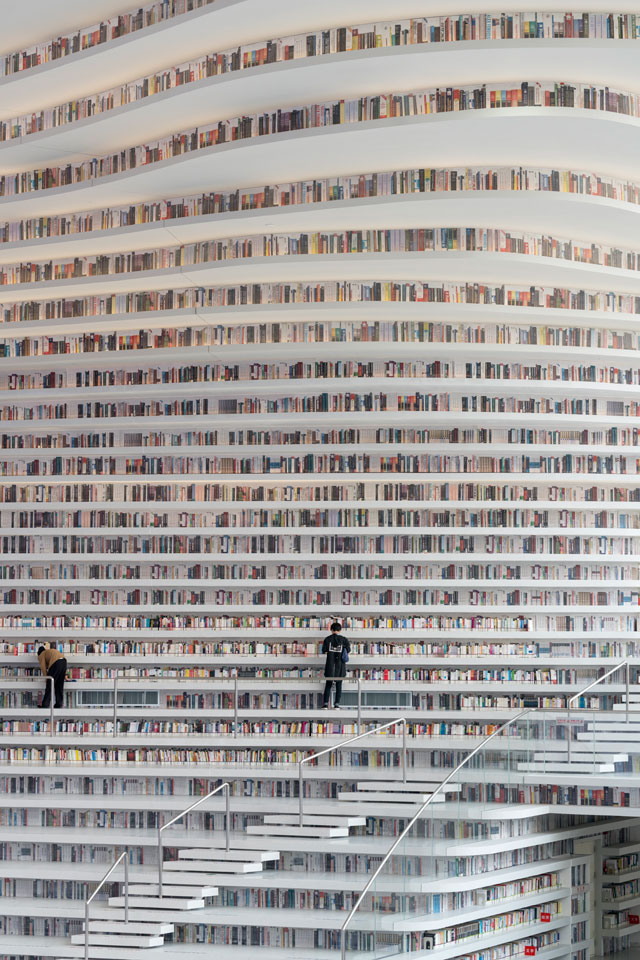 tianjin binhai public library china by mvrdv 7 Incredible Ocean of Books Library Opens in China with Space for 1.2m Titles