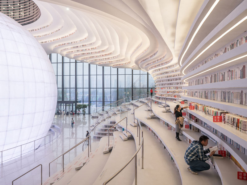 tianjin binhai public library china by mvrdv 8 Incredible Ocean of Books Library Opens in China with Space for 1.2m Titles
