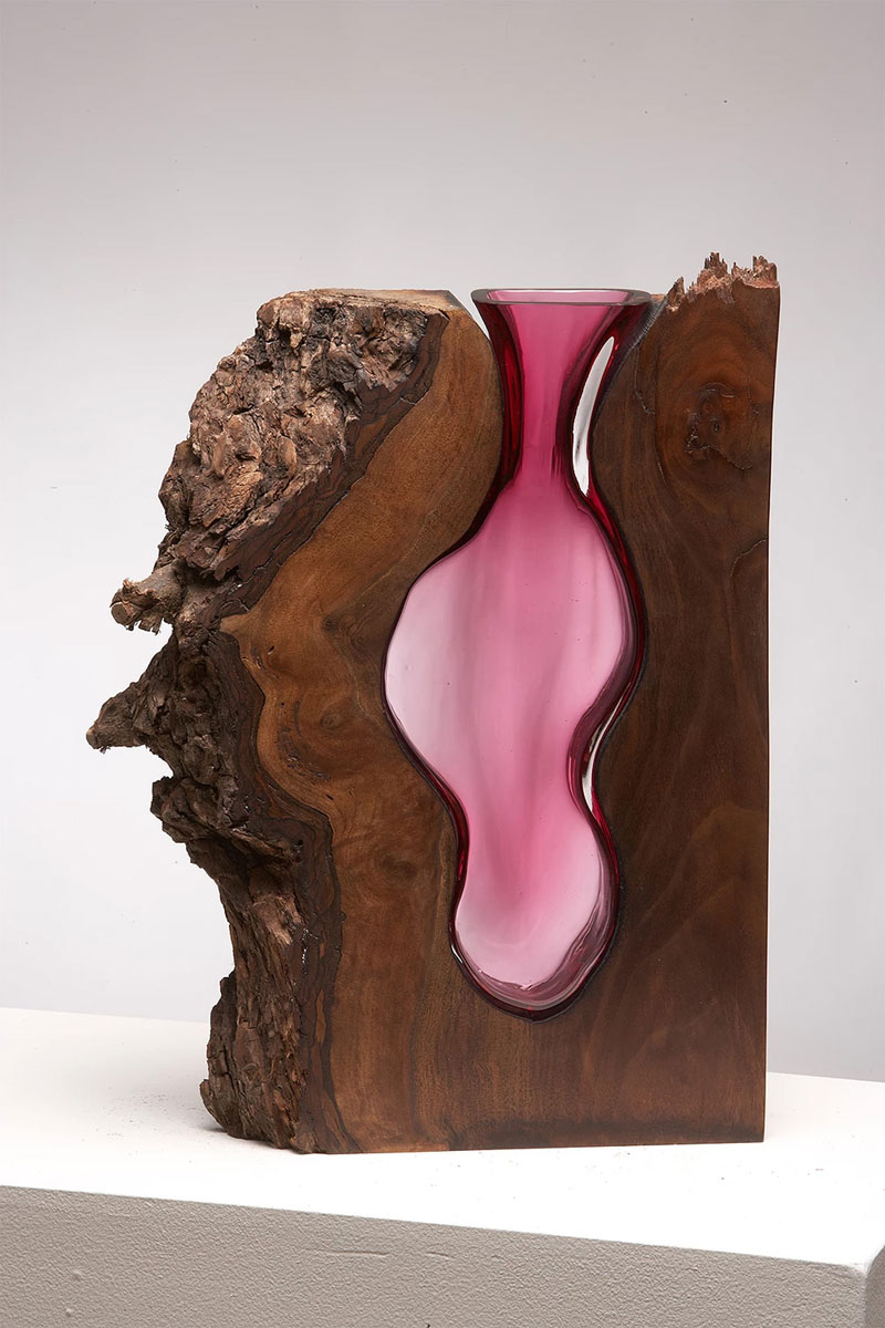 wood and glass by scott slagerman 1 Artist Blows Glass Vases Directly Into Slabs of Live Edge Wood